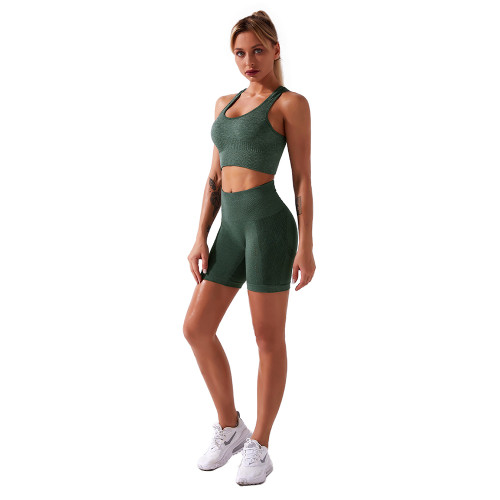 Green Seamless Sports Tank Bra with Shorts Set TQK710204-9