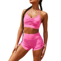 Rosy Pleated Sports Bra with Shorts Set TQK710202-6