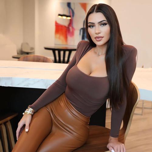 Brown Square Neck Long Sleeve Bodysuit TQK550212-17