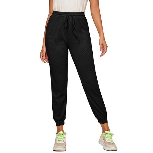 Black Ribbed Drawstring Jogging Pant TQK520073-2