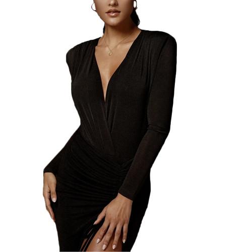 Black Deep V Neck Long Sleeve Bodysuit TQK550213-2
