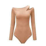 Khaki Long Sleeve Asymmetrical Bodysuit TQK550216-21