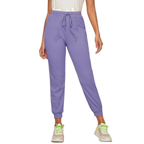 Purple Ribbed Drawstring Jogging Pant TQK520073-8