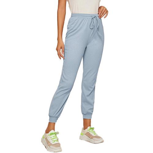 Light Blue Ribbed Drawstring Jogging Pant TQK520073-30