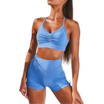 Blue Pleated Sports Bra with Shorts Set TQK710202-5