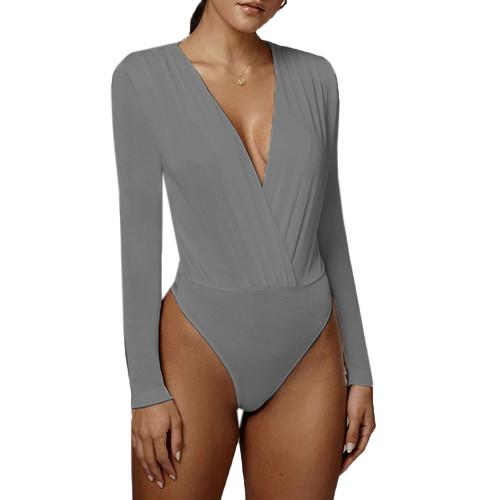 Gray Deep V Neck Long Sleeve Bodysuit TQK550213-11