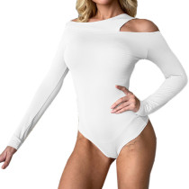 White Long Sleeve Asymmetrical Bodysuit TQK550216-1