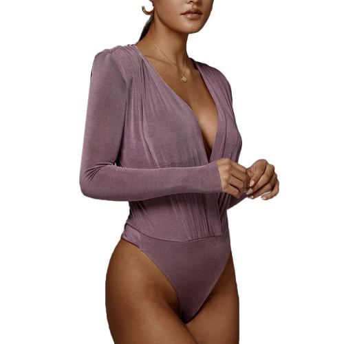 Purple Deep V Neck Long Sleeve Bodysuit TQK550213-8