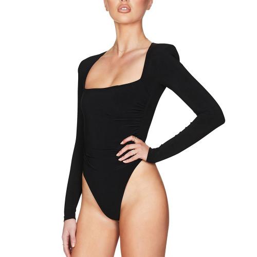 Black Square Neck Long Sleeve Bodysuit TQK550212-2