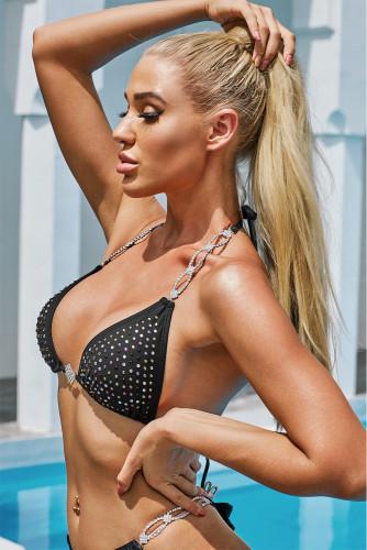 Black Halter Rhinestone Tied Detail Bikini Set LC412247-2