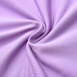 Purple Long Sleeve Asymmetrical Bodysuit TQK550216-8