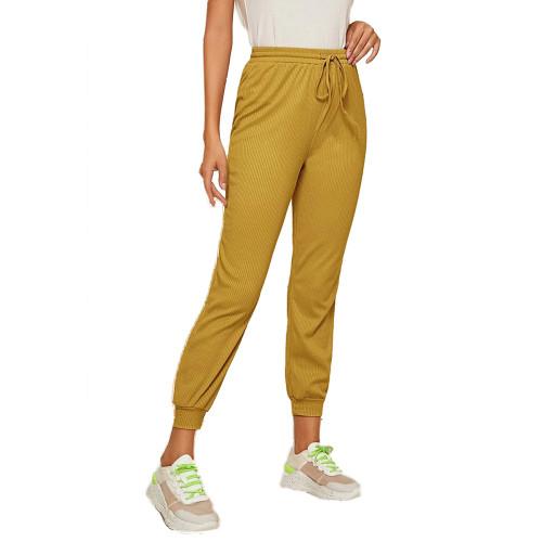 Yellow Ribbed Drawstring Jogging Pant TQK520073-7