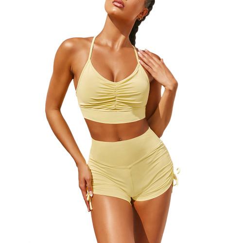 Yellow Pleated Sports Bra with Shorts Set TQK710202-7
