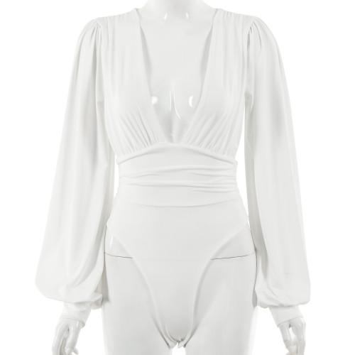 White Deep V Neck Pleated Long Sleeve Bodysuit TQK550214-1