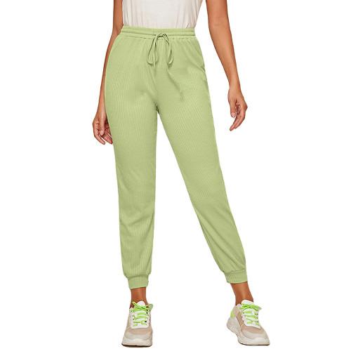 Light Green Ribbed Drawstring Jogging Pant TQK520073-28