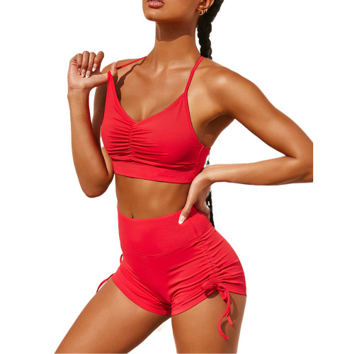 Red Pleated Sports Bra with Shorts Set TQK710202-3