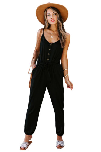 Black Pocketed Knit Jumpsuit LC641368-2