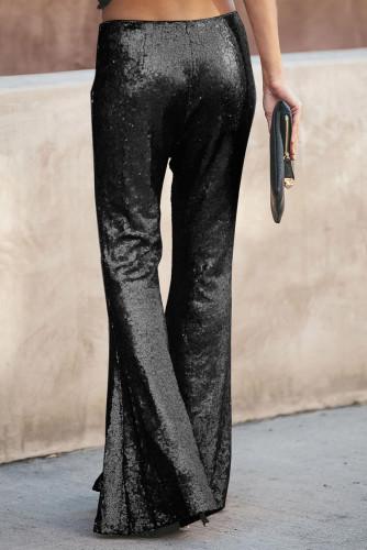 Black Sequin Bell Bottom Fashion Pants LC77205-2