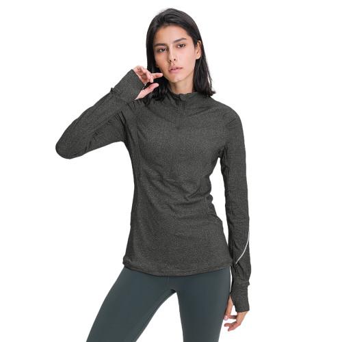 Dark Gray 1/2 Zipper Sportswear Pullover Yoga Coat TQE31089-26