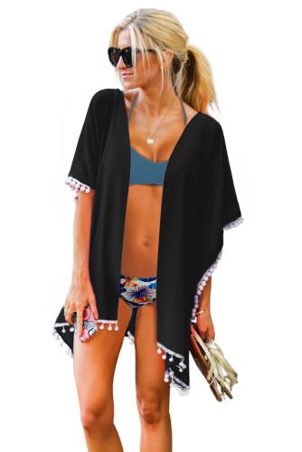 Black Tassel Swimsuit Kimono Cover up LC420205-2