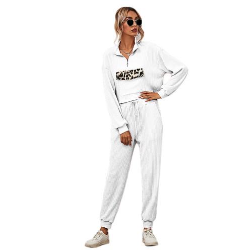 White Zipper Up Leopard Detail Sweatshirt with Pant Set TQK710222-1