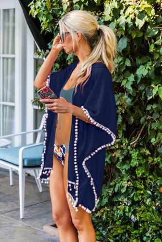 Blue Tassel Swimsuit Kimono Cover up LC420205-5
