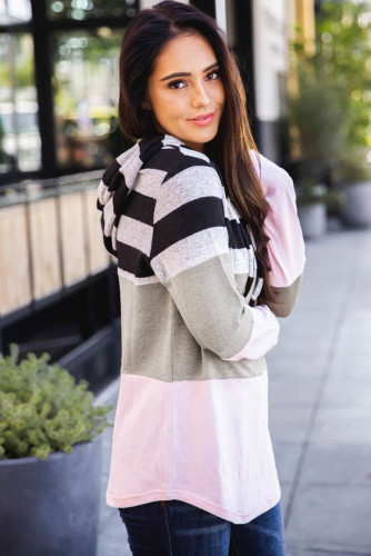 Pink Striped Color Block Drawstring Hoodie LC2532478-10