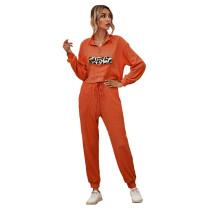 Orange Zipper Up Leopard Detail Sweatshirt with Pant Set TQK710222-14