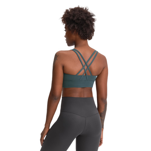 Forest Gray Green Back Cross Criss Push-up Yoga Bra TQE11090-92