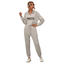Light Gray Zipper Up Leopard Detail Sweatshirt with Pant Set TQK710222-25