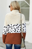 Apricot Turtleneck Splicing Chunky Knit Pullover Sweater LC272502-18