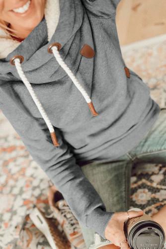 Gray Cowl Neck Drawstring Hoodie LC2533166-11
