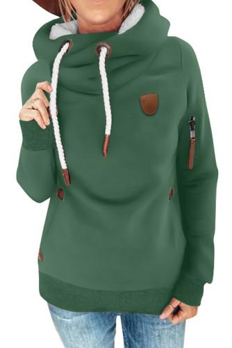Green Cowl Neck Drawstring Hoodie LC2533166-9