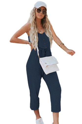 Blue Pocketed Knit Jumpsuit LC641368-5