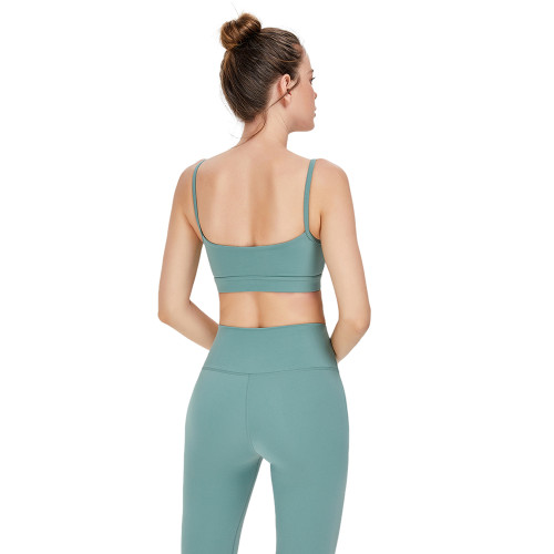 Moss Green Low Back Sportswear Yoga Bra TQE91091-203