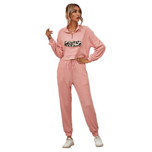 Pink Zipper Up Leopard Detail Sweatshirt with Pant Set TQK710222-10