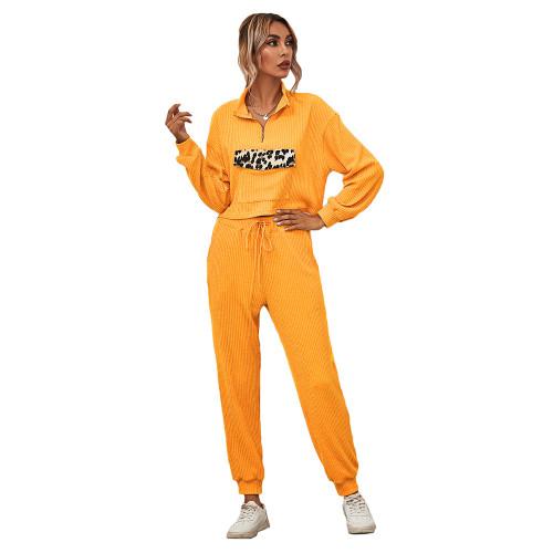 Yellow Zipper Up Leopard Detail Sweatshirt with Pant Set TQK710222-7