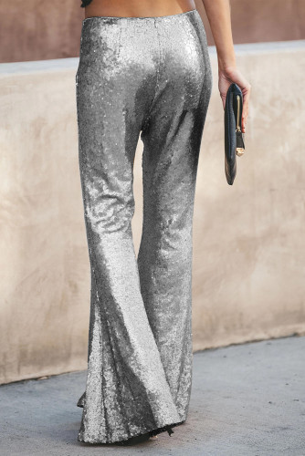 Silver Sequin Bell Bottom Fashion Pants LC77205-13