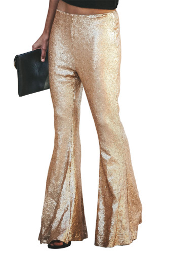 Gold Sequin Bell Bottom Fashion Pants LC77205-12