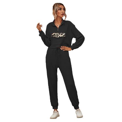 Black Zipper Up Leopard Detail Sweatshirt with Pant Set TQK710222-2