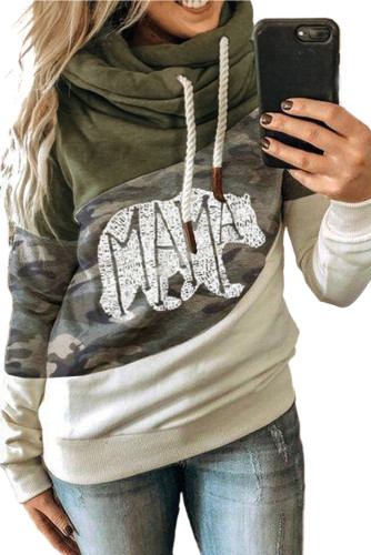 Green MAMA Camo Print Accent Colorblock Splicing Hoodie LC2533642-9