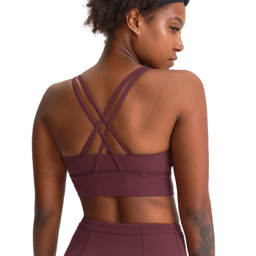 Chestnut Red Back Cross Criss Push-up Yoga Bra TQE11090-219