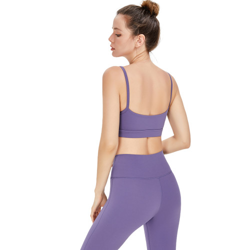 Purple Low Back Sportswear Yoga Bra TQE91091-8