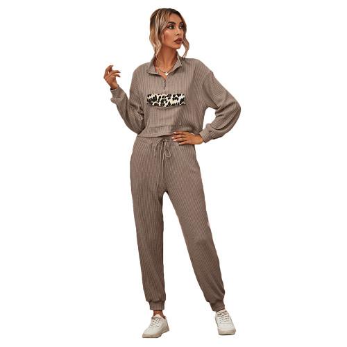Coffee Zipper Up Leopard Detail Sweatshirt with Pant Set TQK710222-15