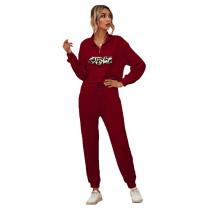 Wine Red Zipper Up Leopard Detail Sweatshirt with Pant Set TQK710222-103