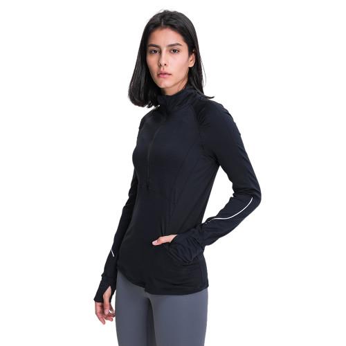 Black 1/2 Zipper Sportswear Pullover Yoga Coat TQE31089-2
