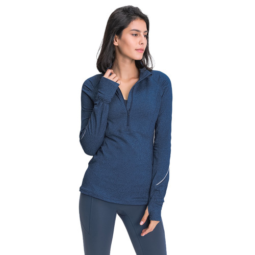 Tin Blue 1/2 Zipper Sportswear Pullover Yoga Coat TQE31089-98