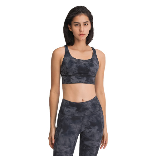 Black Ash Camo Print Back Cross Criss Yoga Bra TQE11090-217