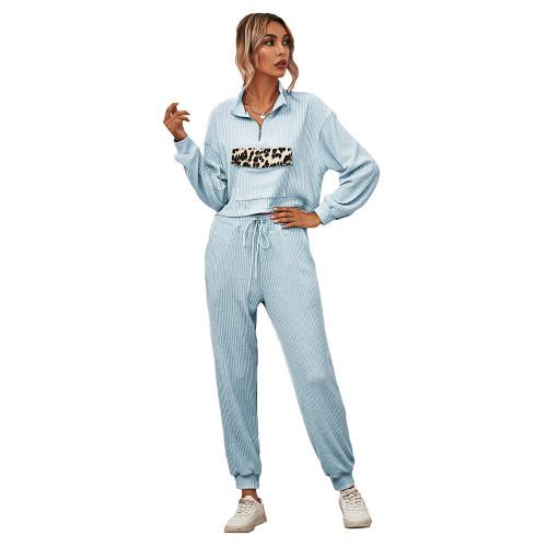Light Blue Zipper Up Leopard Detail Sweatshirt with Pant Set TQK710222-30