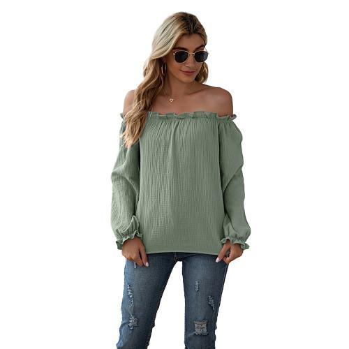 Light Green Ruffle Hem Off Shoulder Long Sleeve Top TQK210589-28
